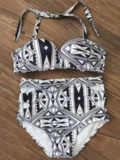Push Up Geometric High Waisted Bikini Set - Black Xl