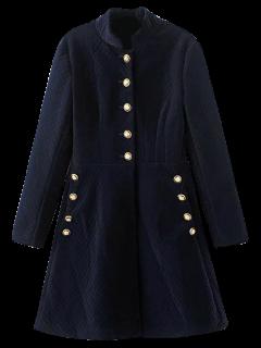 Robe Trapèze Rétro à Manches Longues Avec Boutonnage Unique - Bleu Violet S