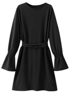 Bell Cuff Sleeve Tie Waist Dress - Black M