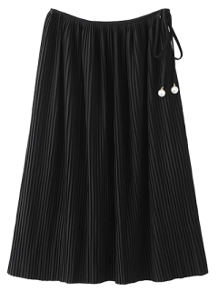 Pleated Tied Skirt - Black M