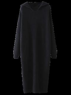 Hooded Midi Jumper Dress - Black