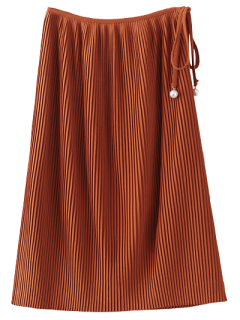 Pleated Tied Skirt - Brown M