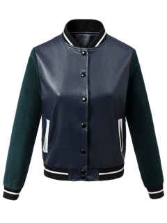 Corduroy PU Leather Baseball Jacket - Blue And Green S