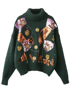 Roll Neck Sequins Sweater - Blackish Green