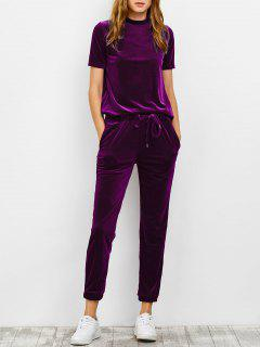 Velvet Tee And Jogging Pants Sweat Suit - Purplish Red S