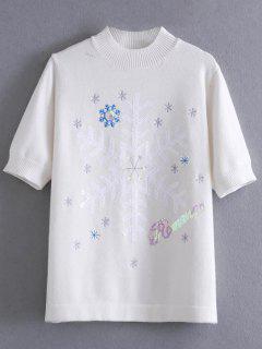 Motif Snowflake Paillettes Pull - Blanc