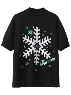 Snowflake Pattern Sequins Sweater - Black