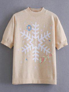 Snowflake Pattern Sequins Sweater - Off-white