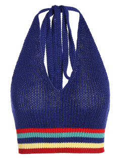 Knitting Striped Crop Top - Blue M