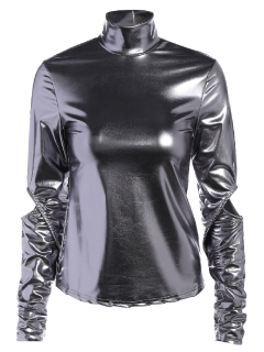 High Collar Metallic Color Top - Silver M