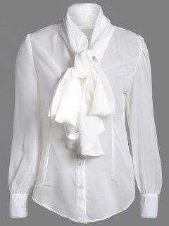 Blouse Transparente Avec Noeud Papillon  - Blanc S