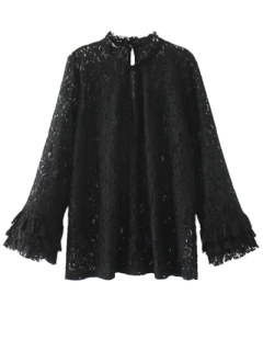 Cut Out Ruff Collar Lace Blouse - Black S