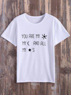 T-shirt Imprimé Graphique Texte à Manches Laminées - Blanc S