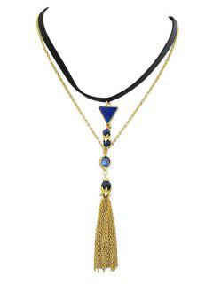 Triangle Tassel Layered Necklace - Golden