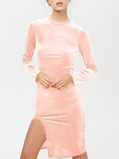 Side Slit Langarm Velour Kleid - Pink S