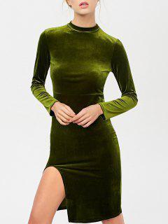 Side Slit Long Sleeve Velour Dress - Olive Green M