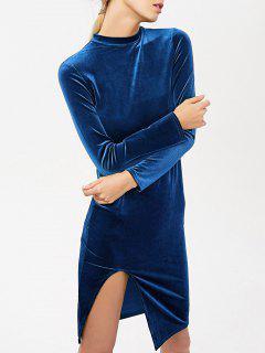 Robe En Velours Avec Fentes Latéraux à Col Montant Et à Manches Longues - Bleu Canard S