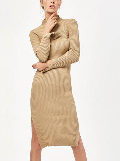 Side Slit Bodycon Sweater Dress - Khaki