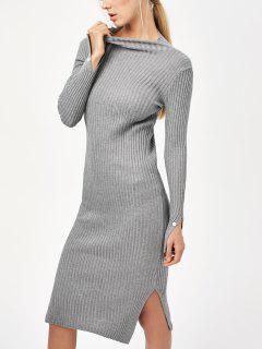 Vestido De Suéter Ajustado De Abertura Lateral - Gris