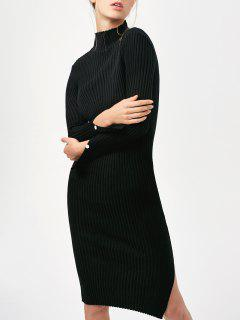 Side Slit Bodycon Sweater Dress - Black