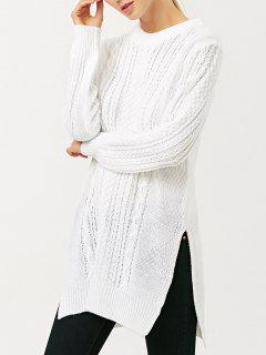 Cable Knit Side Slit Jumper - White Xl