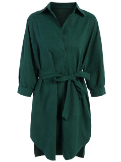 Tie Belt Midi Shirt Dress - Deep Green S