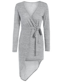 Asymmetric Crossover Knit Dress - Gray S