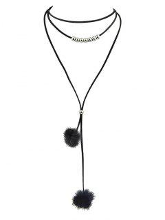 Pom Pom Choker Necklace - Black