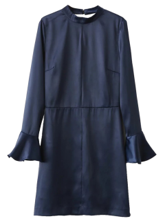 Flare Sleeve évider A-Line Robe - #0000ff L