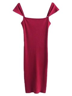 Low Back Ribbed Cap Sleeve Pencil Dress - Burgundy M