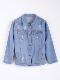 Frayed Pockets Denim Shirt Jacket - Light Blue S