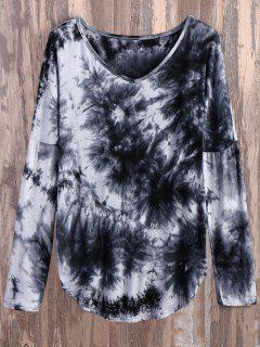 V Neck Long Sleeve Tie Dyed Tee - White And Black S