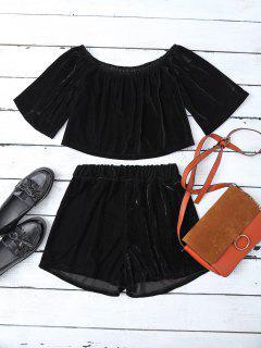 Camisa Corta De Terciopelo Y Pantalones Cortos - Negro S