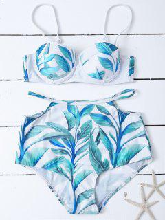 Bikini Décolleté Taille Haute Avec Impression De Feuilles - Blanc S