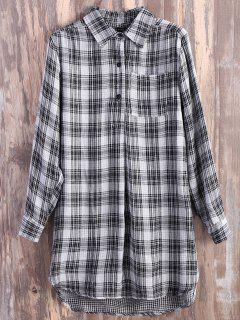 Pocket Plaid Flannel Shirt Dress - Grey And White L