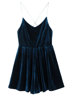 Low Back Slip Velvet Skirted Romper - Peacock Blue L