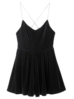 Low Back Slip Velvet Skirted Romper - Black S