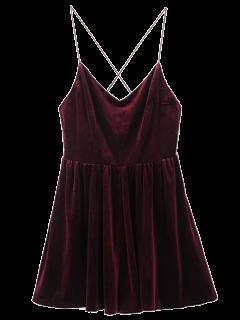 Baja De La Espalda Del Tirante De Espagueti Con Falda De Terciopelo Romper - Vino Rojo S