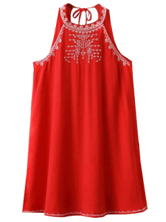 Sleeveless Cut Back Embroidered Dress - Red L