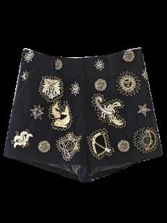 Pleuche Embroidered Shorts - Black S