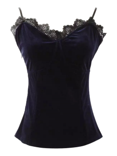 Lace Panel Velvet Cami Tank Top - Purplish Blue S