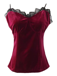 Lace Panel Velvet Cami Tank Top - Wine Red M