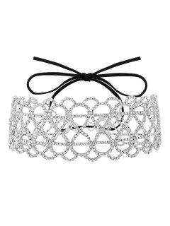 Bowknot Hollowed Infinite Rhinestoned Necklace - White