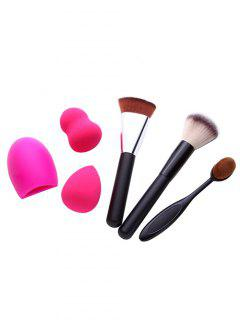 3 Pcs Makeup Brushes + Makeup Sponges + Brush Egg - Black
