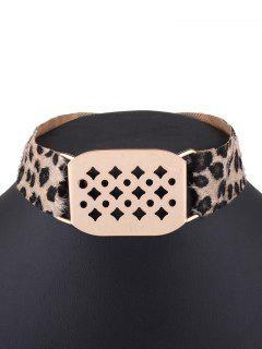 Hollowed Geometry Leopard Velvet Choker - Yellow