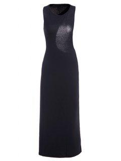 Asymmetrical Backless Sleeveless Dress - Black M
