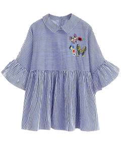 Embroidered Striped Smock Blouse - Blue S