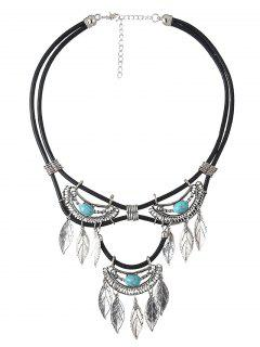 Faux Turquoise Leather Leaf Necklace - Cyan