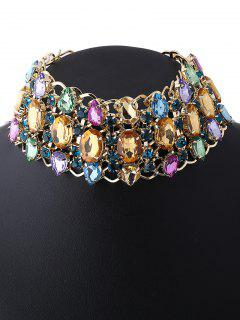 Wide Rhinestoned Hollow Out Choker