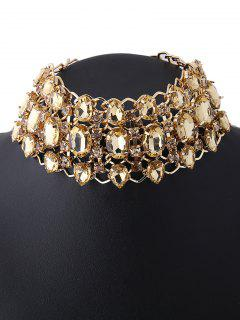 Wide Rhinestoned Hollow Out Choker - Champagne
